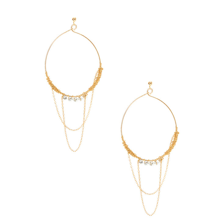 Gold Hoop Earrings With Connecting Crystal Chains,