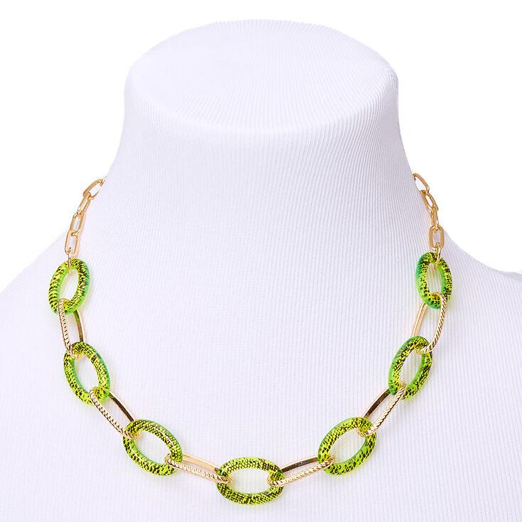Gold Neon Snakeskin Chain Statement Necklace - Yellow,