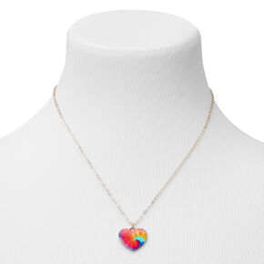 Gold Rainbow Tie Dye Heart Pendant Necklace,