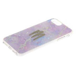 Lilac Marble Glitter Initial Phone Case - M,