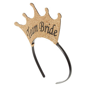 Gold Team Bride Crown Headbands - 5 Pack,