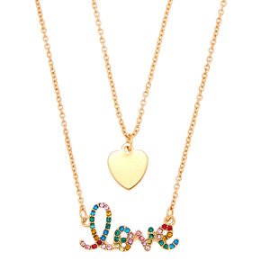 Gold Rainbow Love Pendant Necklace Set - 2 Pack,