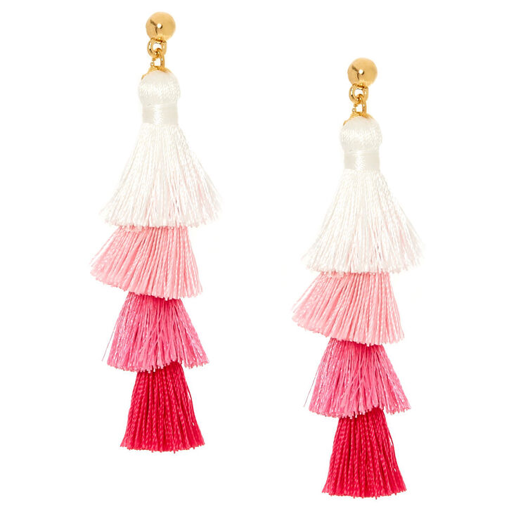 Pink Ombre Tiered Tassel Drop Earrings,