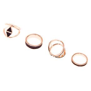 Rose Gold Black Glitter Rings - 4 Pack,