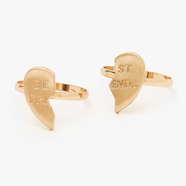 Gold Broken Heart Best Friends Rings - 2 Pack,