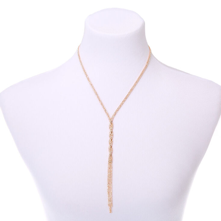 Rose Gold Rhinestone Twist Y-Neck Pendant Necklace,