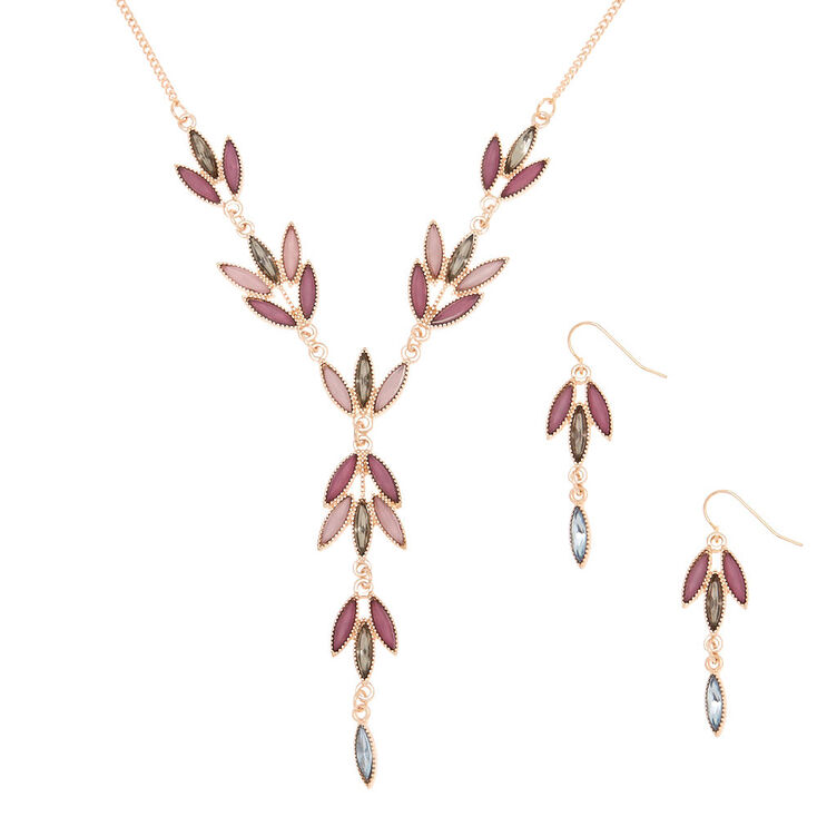 Gold Romantic Vine Jewelry Set - Lilac,