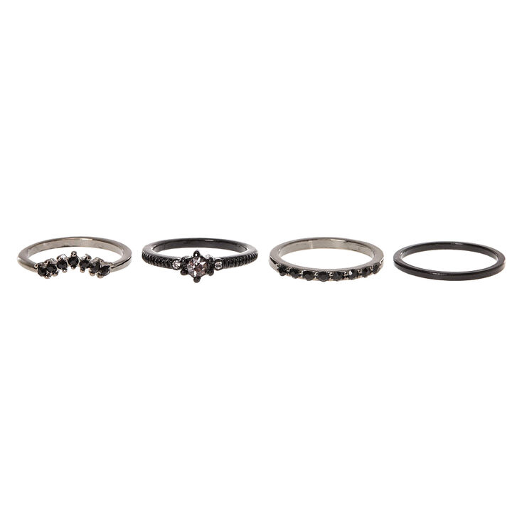 Black Diamond 4 Pack Midi Rings,