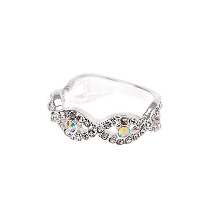 Silver Embellished Eye Ring,