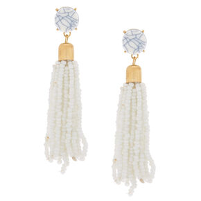 "3"" Beaded Tassel Drop Earrings - White,"