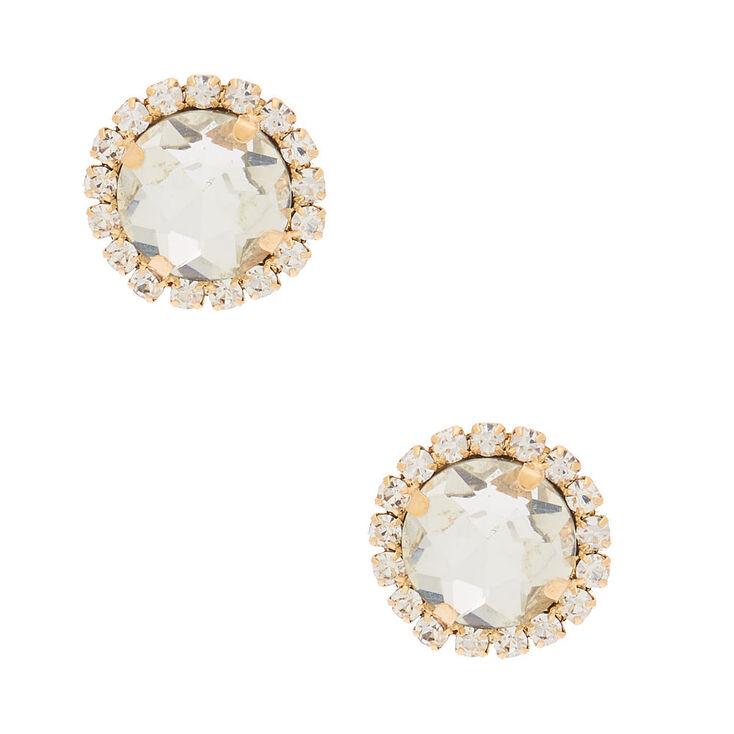 Gold Crystal Stud Earrings,