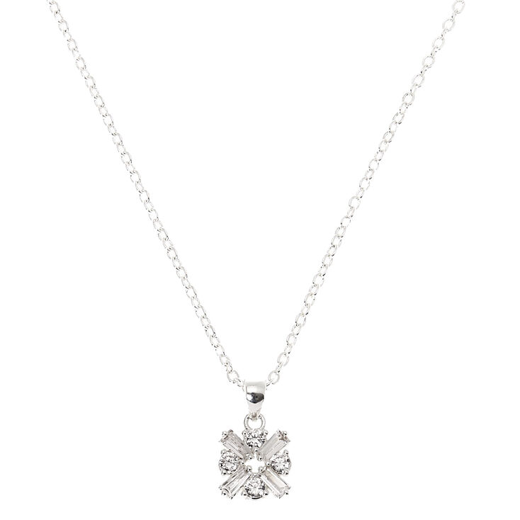 Silver Cubic Zirconia Pendant Necklace,