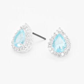 Silver Cubic Zirconia Halo Teardrop Stud Earrings,