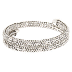 Silver Rhinestone Fireball Wrap Bracelet,