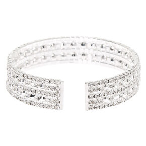 Silver Rhinestone Cuff Bracelet,