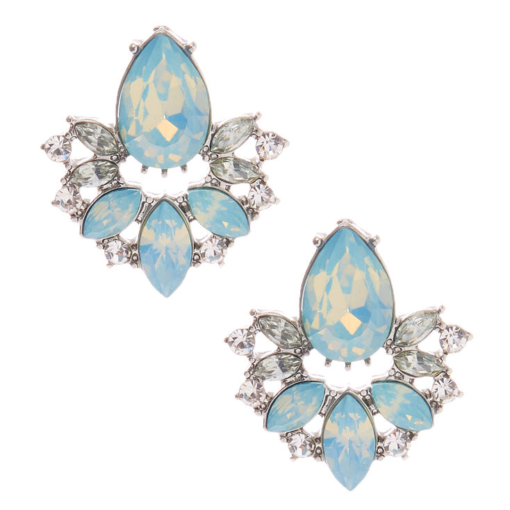 Silver Embellished Teardrop Stud Earrings - Turquoise,