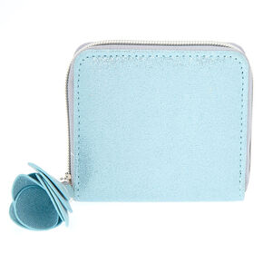 Small Metallic Flower Zip Wallet - Blue,
