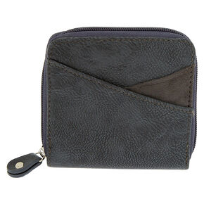 Faux Leather Mini Zip Wallet - Gray,