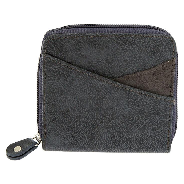 Faux Leather Mini Zip Wallet - Gray,