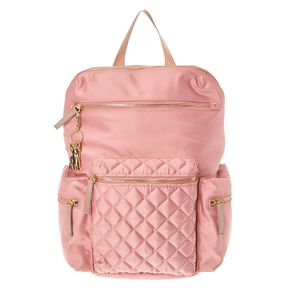 Quilted Pink Satin Backpack,