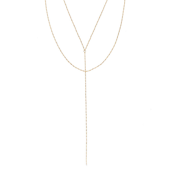 Gold Tone Textured Y Chain Necklace,