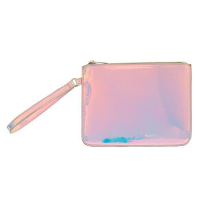 Holographic Faux Leather Wristlet,