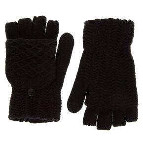 Knit Fingerless Gloves With Mitten Flap - Black,