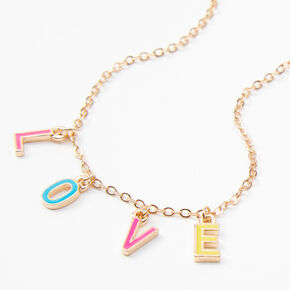 Gold Rainbow Love Pendant Necklace,