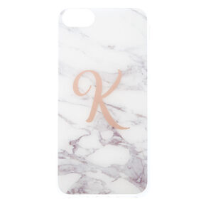 "White Marbled ""K"" Initial Phone Case - Fits iPhone 6/7/8 Plus,"