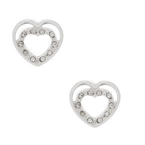 Silver Heart Stud Earrings,