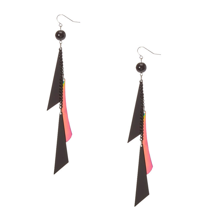Black & Mirrored Geometric Fringe Drop Earrings,