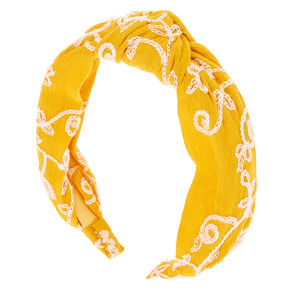 Embroidered Floral Knotted Headband - Mustard,