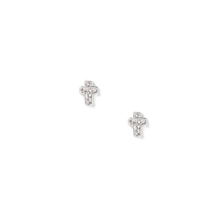 Sterling Silver Crystal Cross Stud Earrings,
