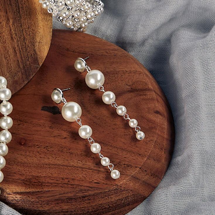 "Silver 2.5"" Graduated Pearl Linear Drop Earrings - White,"
