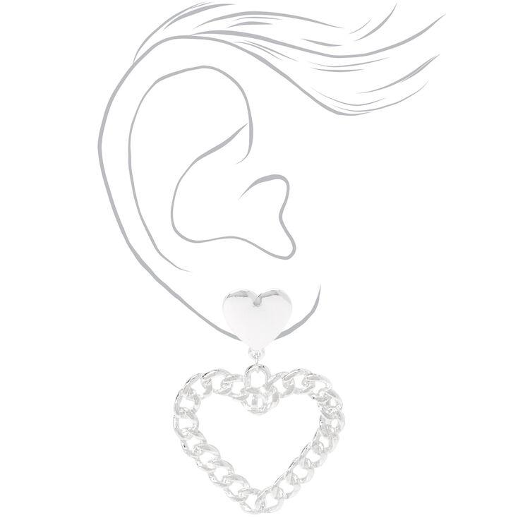 Silver Chain Link Hearts Drop Earrings,