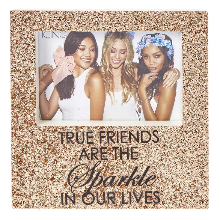 Rose Gold Glitter True Friends Photo Frame