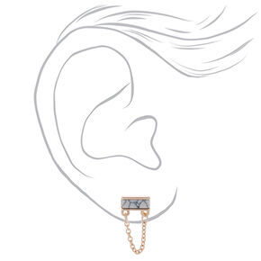 Rose Gold Marbled Chain Stud Earrings - White,