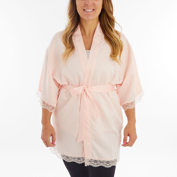 Blush Satin Lace Trim Robe - S/M,