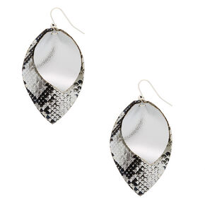 Silver Snakeskin Print Drop Earrings,