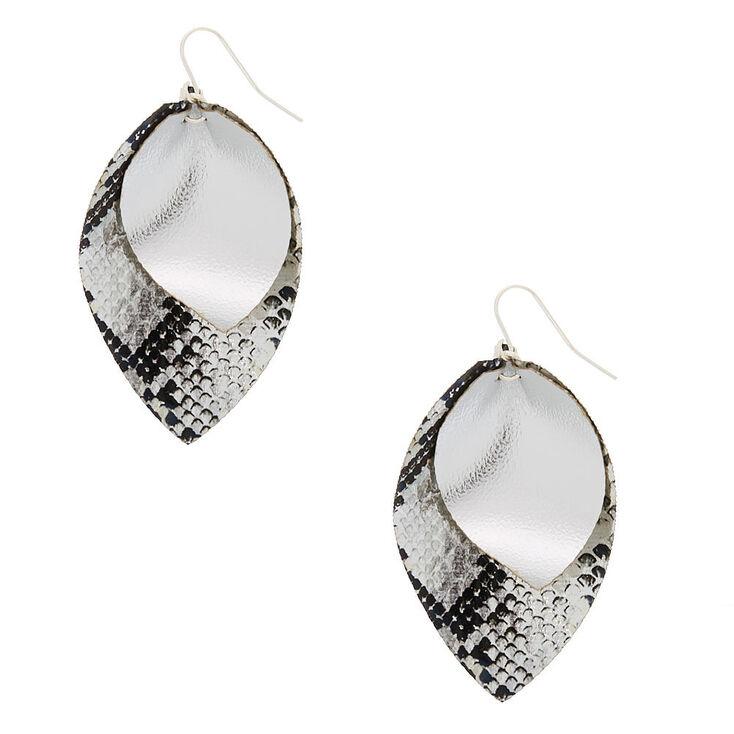 Silver Snakeskin Print Drop Earrings,