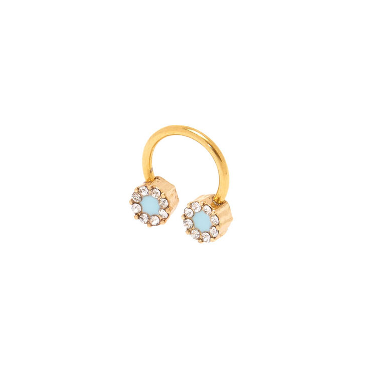 16G Blue Ice Gold Tragus Hoop,