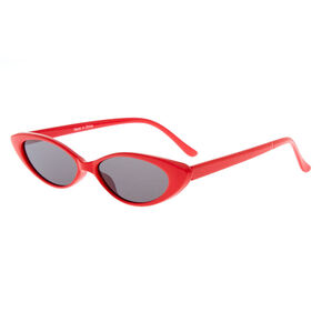 Slim Cat Eye Sunglasses - Red,