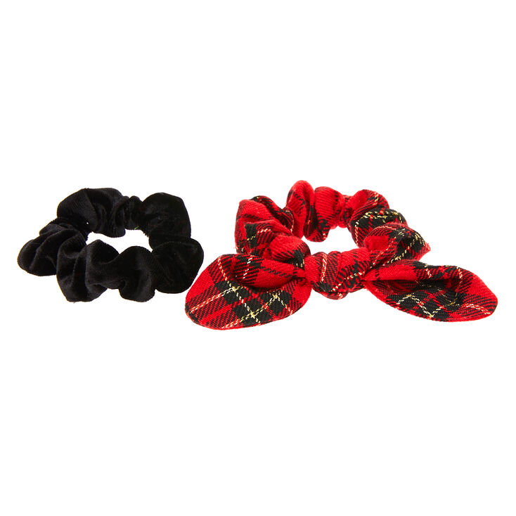 Small Velvet Plaid Hair Scrunchies - Red, 2 Pack,