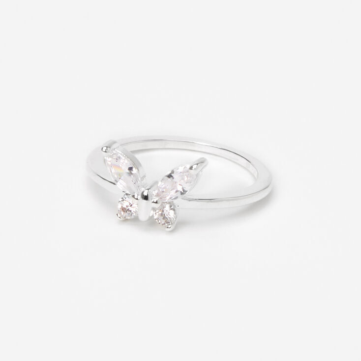 Silver Cubic Zirconia Butterfly Ring,