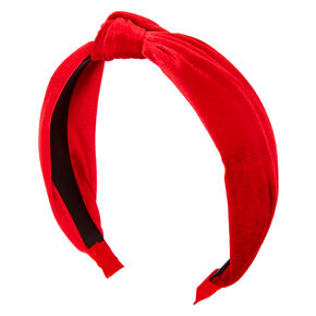 Velvet Knotted Headband - Red,
