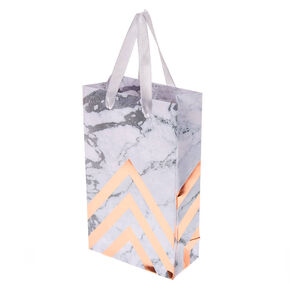 Marbled Rose Gold Chevron Small Gift Bag,