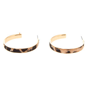 Gold 40MM Fuzzy Leopard Hoop Earrings,