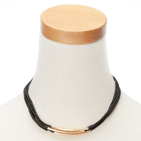 Cord Gold Accented Multi Strand Statement Necklace - Black,