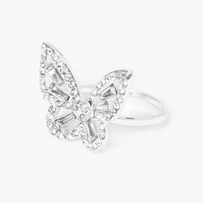 Silver Delicate Crystal Butterfly Ring,