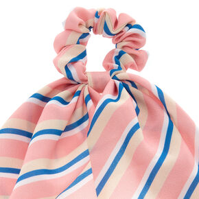 Striped Scarf Hair Scrunchie - Pale Pink,